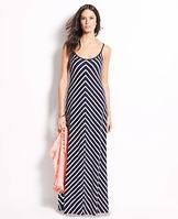 """Tall Chevron Spaghetti Strap Maxi Dress - Bold print: from every angle, our chevron striped maxi dress flatters in all the right places, making it the ultimate wear-anywhere piece. Front and back scoop neck. Spaghetti straps. 44 1/2"""" from natural waist."""