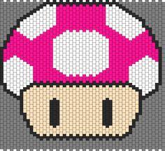 Big Mushroom Panel For A Kandi Pattern Melty Bead Patterns, Kandi Patterns, Beading Patterns Free, Perler Patterns, Peyote Patterns, Cross Stitch Patterns, Peyote Beading, Perler Beads, Crafty