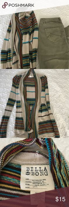 Billabong cardigan ! This multicolor cardigan is a perfect addition to your boho look! Worn a few times with no stains or snags Billabong Jackets & Coats