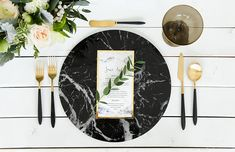 Marble Charger Plates Black & White 13 diameter Wedding Tablescape New Years Decor Modern Minimalist Black & Gold