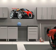 48 2010 Bugatti Veyron Grand Sport car HUGE Wall Graphic Sticker Decal Kids Game Room Man Cave Garage Art Decor NEW !! Brand NEW !!. Only the best vinyl & eco-sol ink used.. Easy to install...just peel & stick. Made in USA. Click on our name @ top of page for all our available items.  #StickitGraphix #Home