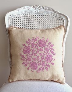 Pretty French Cross-Stitch Rose Pattern ~ Orchid Colored Silk on Ivory Linen ~ Shabby Chic Colors