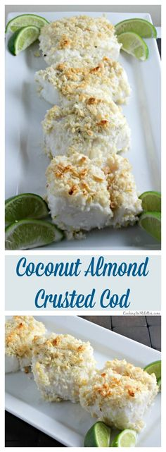 Baked Cod goes from ordinary to extraordinary when it melds with coconut, almonds and a hint of lime. This Coconut Almond Crusted Cod recipe from CookingInStilettos.com will be a family favorite!   @CookInStilettos ~ http://cookinginstilettos.com