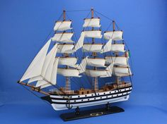 Perfectly sized for any small shelf, desk or mantle, these fine tall ship models of the Amerigo Vespucci are historically accurate scale model replicas of the famous tall ship. Add a flair of nautical décor to a den or living room, touch of history to a child's bedroom, or an indomitable winning air to any office or boardroom. 20 Long x 4 Wide x 17 High (1:122 scale)    Arrives fully assembled with all sails mounted  Handcrafted wooden hull and masts  High quality woods include southwest…