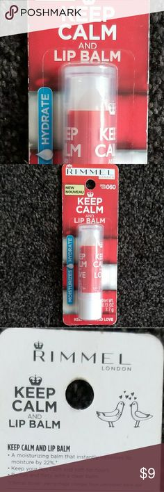 "💋KEEP CALM and LIP BALM💋 Hipster fashion lip balm to hydrate & moisturize dry, chapped lips. Leaving your lips soft for hours! Using the very popular Chive saying "" keep calm""  ""KEEP CALM AND LIP BALM""  NEW, in the package, by the professional cosmetic make-up company, Rimmel London. Lip balm is clear, like a Chapstick in a lipstick them. The tube is red and white.   Beauty products, nwt, NIP, new in package, lip gloss, moisture, facial skin care, chapped lips, junior's, kids, girls, boys…"