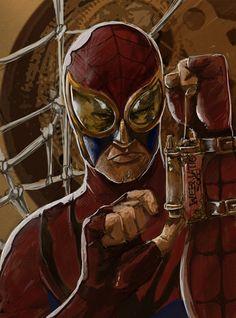 curiousintent:    Steampunk Spider-man painted up.