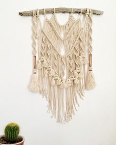 Macrame Wall Hanging || Natural Cotton + Copper on Driftwood with Tassels…