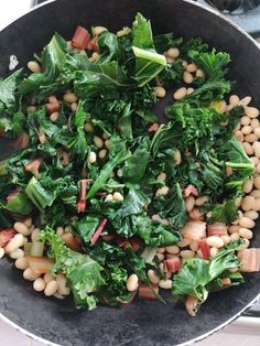 Kale, spinach, haricot beans and rainbow chard for breakfast. By Annie P Kale, Spinach, Rainbow Chard Recipes, Haricot Beans, Sprouts, Annie, Vegetables, Breakfast, Food