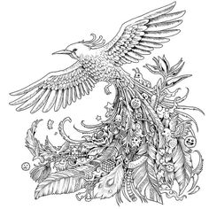 Check out this very interesting bird adult coloring picture with all kinds of strange things hidden in the feathers. More cool stuff at bestadultcoloringbooks.com
