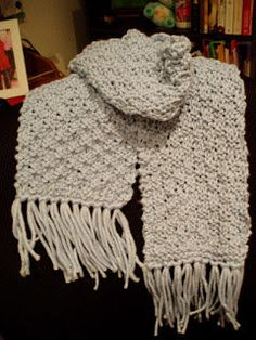 Free Knitting Pattern - Scarves: Blue Basketweave Scarf