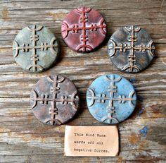 Ceramic Bind Rune Pendant  Protection from by MinasFunkadelic