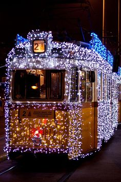 The Christmas Tram in Budapest, Hungary. It is seen here on the number 27 line, but it often operates on the number 2 line along the Pest riverside in December.
