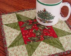 Christmas Holly Mini Quilt Candle Mat Mug Rug by QuiltsyTeam, $8.00