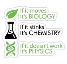 'Biology – Chemistry – Physics' Sticker by nektarinchen - Studying Motivation Physics Jokes, Biology Memes, Biology Art, Chemistry Quotes, Science Quotes, Chemistry Drawing, Chemistry Classroom, Science Chemistry, Material Science