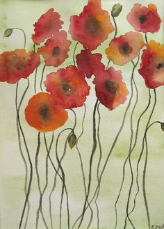 Poppies, by Amy Fourte--i think since I can't afford art but I have a buttload of watercolor paint I'll paint some poppies for my room