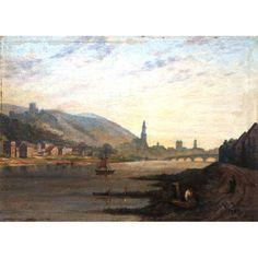 """W. Dolle, 1889 <br /> MEDIDAS:16,5 x 22 cm.<br /> TÉCNICA:o.s.cartão<br /> TÍTULO: """"Blick auf Heidelberg von …<br /> Paisagem de Heidelberg as margens do rio Neckar comvista do confessionárioda igreja.<br /> MOLDURA: sob medida, madeira laqueada e folha ouro."""