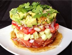 Ahi Poke Stack from PaleoCupboard.com . . for the day that I have too much time to make lunch and sushi grade ahi tuna on hand.  Oh, I make myself laugh.