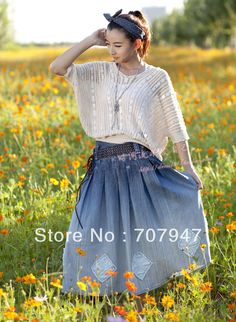 Free shipping jean the skirt of women with 2013 spring and summer long jean skirts women Simple Elegant pleated skirt retro blue-inSkirts from Apparel & Accessories on Aliexpress.com $48.89