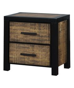 Serendipity Black & Oak Malor Two-Drawer Nightstand | zulily