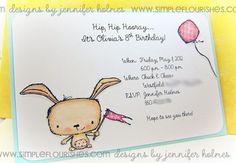 Invitation Jennifer Holmes using Stacey Yacula Studio stamps by Purple Onion Designs.
