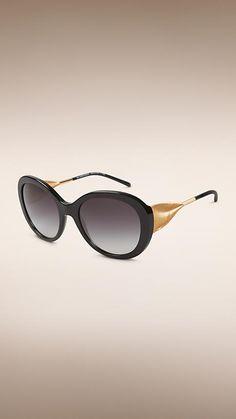 Black Oversize Round Frame Sunglasses - Image 1