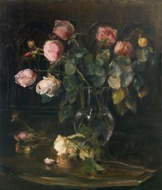 Marguérite Carolina de Clerq (1857-1933) A still life with roses in a vase, oil on canvas. Collection Simonis & Buunk, The Netherlands