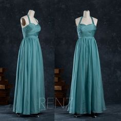 (CHOICE TWO) 2015 Teal Bridesmaid dress Halter Wedding dress Long by RenzRags