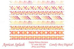 Apricot Splash Geometric Borders by Candy Box Digital. They can be used as borders for scrapbooks, journals, invitations, cards, newsletters, as website dividers, etc... At our Creative Market shop.