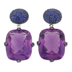 "Pair Of Sapphire And Amethyst Pendant-Earrings, Signed ""Piranesi"" - Doyle New York"