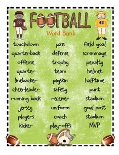 Free!! Football word bank with two writing templates...perfect for Super Bowl!