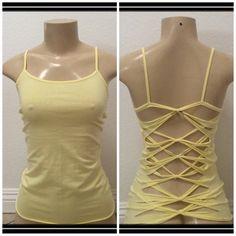 Yellow womans cut up tank top inspired by Adam Saaks. Size M. Diy Cut Shirts, Cutout Shirts, T Shirt Diy, Cut Clothes, Sewing Clothes, Cut Shirt Designs, Cut Up T Shirt, Shirt Refashion, Clothes Refashion
