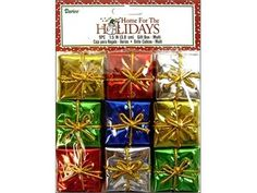1-1/2' Miniature Assorted Wrapped Foil Gift Boxes 54 Total (6 packages of 9) -- To view further for this item, visit the image link.