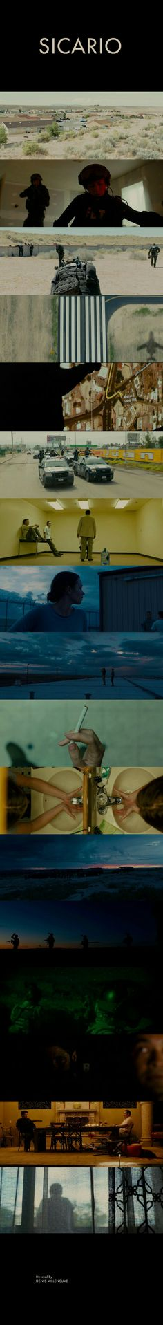 Sicario Directed by Denis Villeneuve. Cinematography by Roger Deakins. 18 Movies, Great Movies, Screen Printing Supplies, Puerto Rico, Roger Deakins, Denis Villeneuve, Privacy Screen Outdoor, Still Frame, Light Film