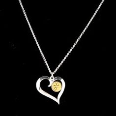 Russell-Hampton Co. Rotary Club Supplies: Silver Heart with Gold RI Logo Necklace