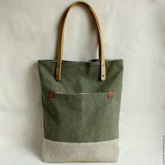 Купить Сумка из мягкого толстого холста цвета amy green - хаки, сумка на каждый день