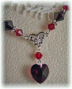 New w/Swarovski Siam/Garnet Heart Charm Crystal Pendant Necklace #HisJewelsCreationsDesign #HeartPendant