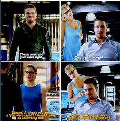 """""""Did you just say I might be right? Are you okay?"""" - Felicity and Oliver parallels #Arrow"""