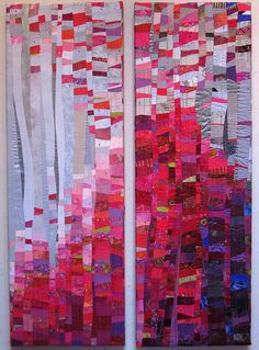 Petal Fall ~ a diptych by Janet Windsor of pieced fabric stretched over a frame; quite lovely and love the finishing approach ....