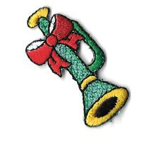 Horn -Christmas - W/Bow Embroidered Iron On Applique Patch