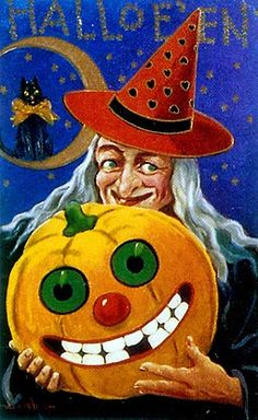 Vintage Halloween Postcard ~ Witch with her Jack O' Lantern