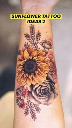 Sunflower Tattoo Shoulder, Sunflower Tattoos, Colorful Sunflower Tattoo, Sunflower Tattoo Sleeve, White Sunflower, Sunflower Tattoo Design, Flower Tattoos On Back, Floral Tattoo Sleeves, Rose Tattoo On Hand