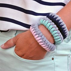 Bracelets made of Bobbiny cotton rope - gray, navy blue, pale pink and mint! www.bobbiny.pl Need a free pattern, purchase one skein of rope and write an email aleksandra@bobbiny.pl