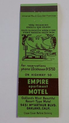 EMPIRE APARTMENT MOTEL OAKLAND CALIFORNIA LOckhaven 9-3750 #Matchcover To order your business' Own Branded Advertising #matchbooks or #matchboxes GoTo: www.GetMatches.com or CALL 800.605.7331 Today!