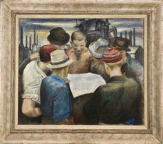 """Strike News,"" Minna Citron, 1937, oil on canvas, 25-5/8 x 30"", The Wolfsonian."