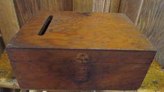 Vintage Wood Ballot Voting Box Trinkets Documents