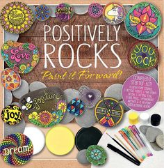 Positively Rocks - rock painting book and craft kit. This would make a great gift or a kit for newbies to get started painting rocks. Rock Painting Supplies, Rock Painting Ideas Easy, Rock Painting Designs, Inspirational Rocks, Rock Crafts, Stone Crafts, Acrylic Paintings, Dot Painting, Pebble Art