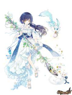 (๑・㉨・๑) ✮ ANIME ART ✮ Anime Girl in a Light Blue Dress and End Breaker Wepon