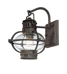 Troy Lighting Portsmouth Collection Exterior Wall Lantern, Boston Bronze With Rust Accents Finish And Clear Seeded Glass Troy Lighting, Barn Lighting, Outdoor Wall Lighting, Exterior Lighting, Wall Sconce Lighting, Lighting Ideas, Outdoor Wall Lantern, Outdoor Wall Sconce, Outdoor Walls