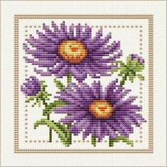 September - Aster, Project 2010 - Flower of the Month, designed by Ellen Maurer-Stroh, from EMS Cross Stitch Design.