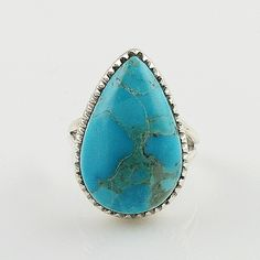 Blue Turquoise Pear Sterling Silver Ring – Keja Designs Jewelry